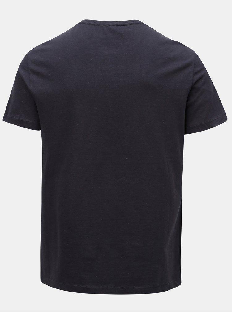 Tmavě modré slim tričko potiskem Blend