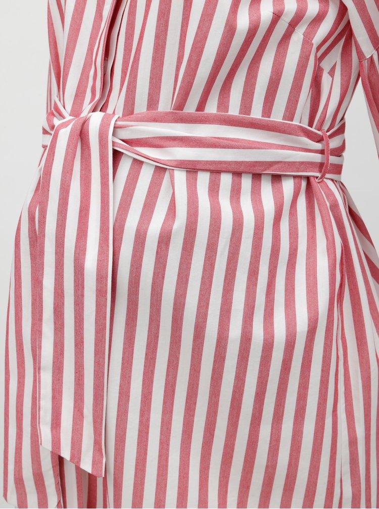 Bílo-červené těhotenské/kojicí košilové pruhované šaty Mama.licious