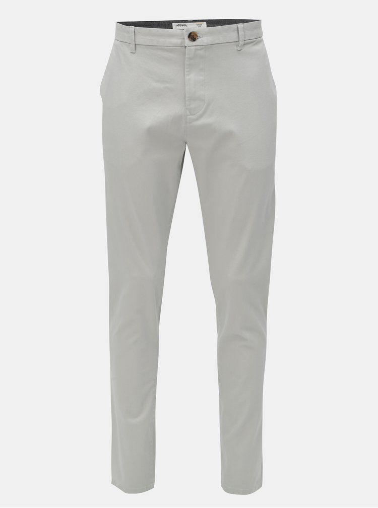 Pantaloni tapered fit gri deschis Burton Menswear London