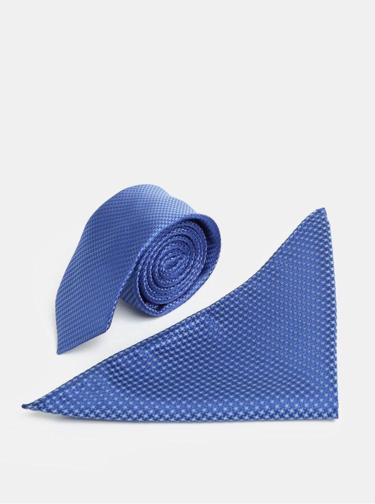 Modrá vzorovaná slim kravata s kapesníčkem do klopy saka Burton Menswear London