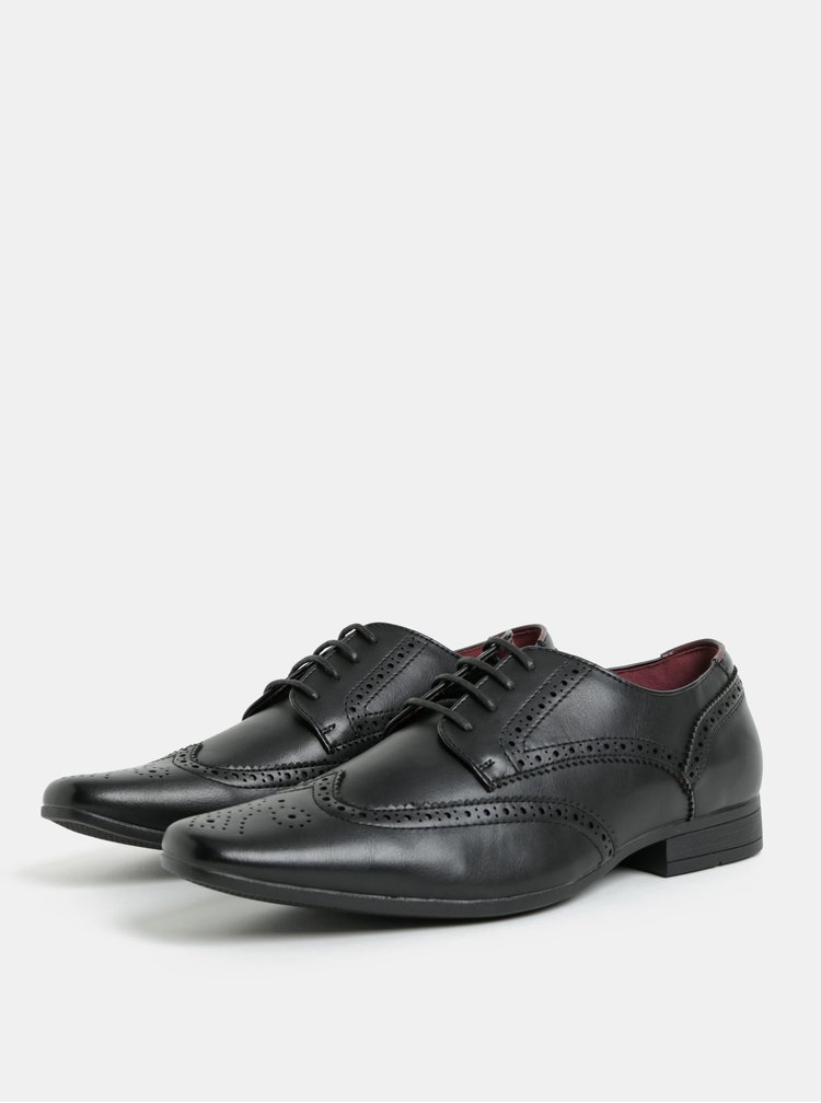 Černé pánské polobotky brogue Burton Menswear London