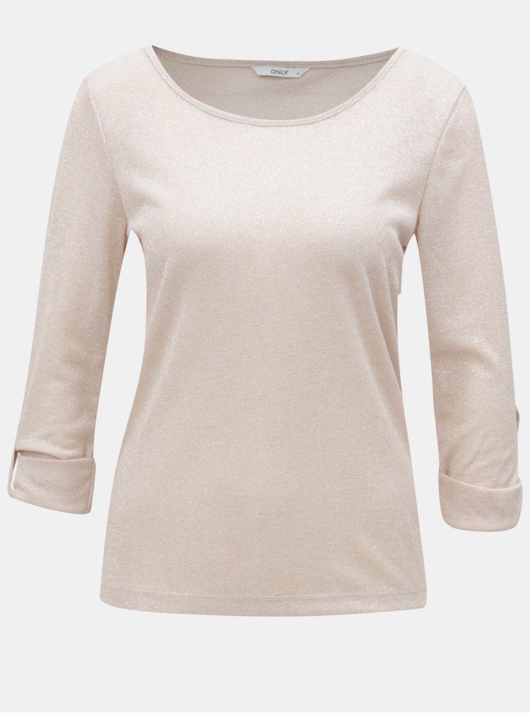 Růžové třpytivé tričko ONLY Silvery
