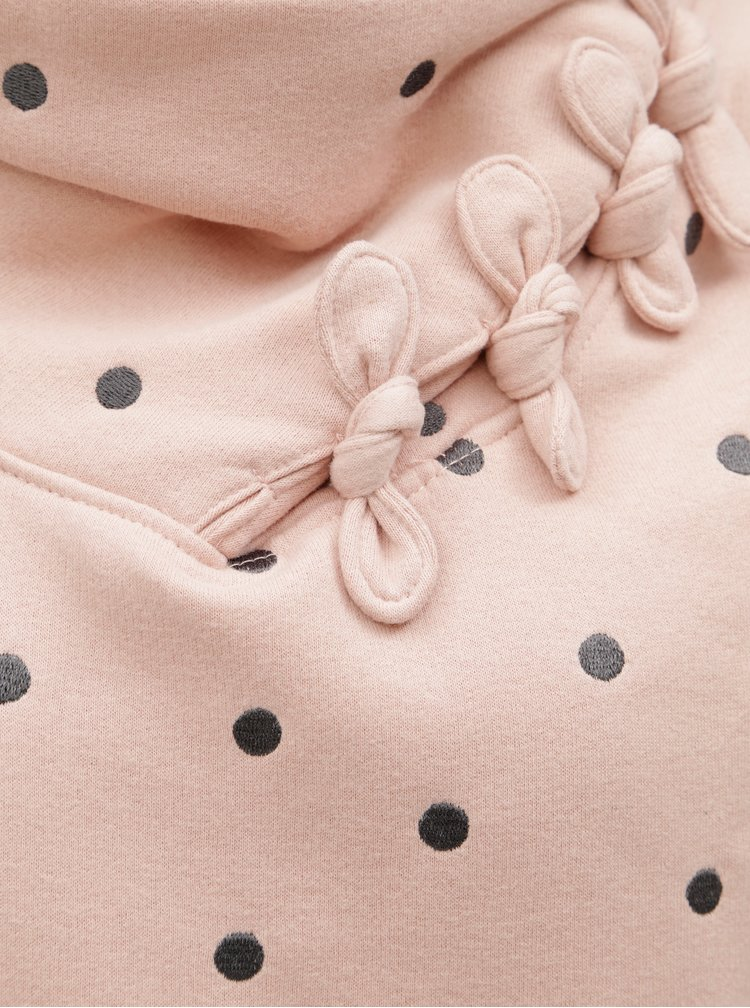 Růžová puntíkovaná mikina s límcem ONLY Lisa