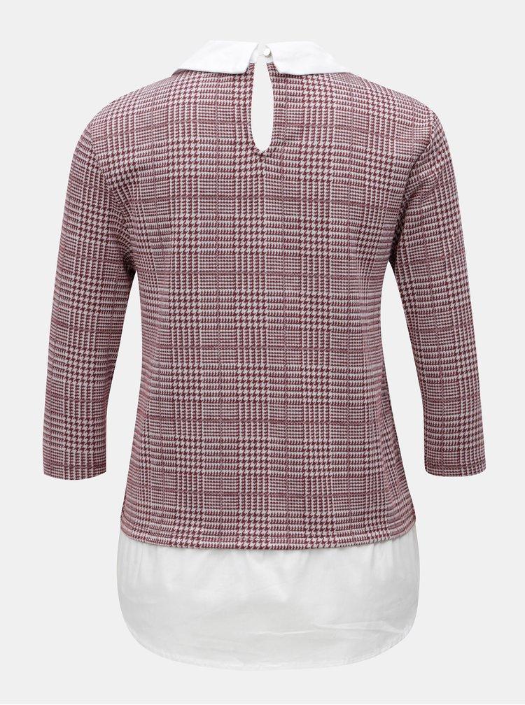 Krémovo-vínové tričko so všitým košeľovým dielom ONLY Selma