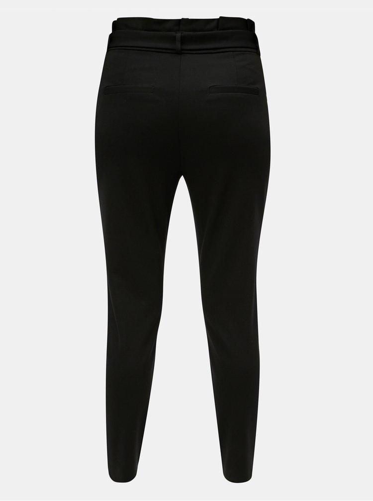 Černé zkrácené kalhoty s vysokým pasem VERO MODA