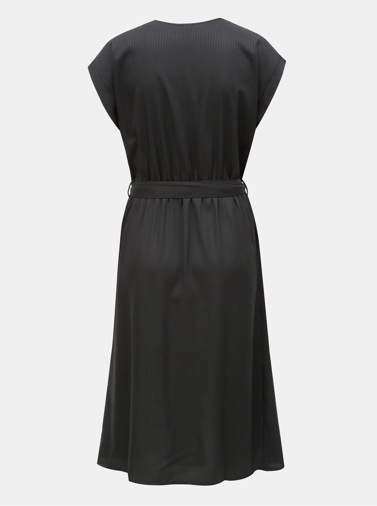 Černé pruhované šaty s překládanou přední částí VERO MODA