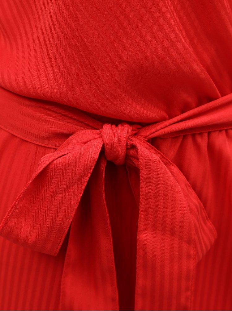 Rochie rosie in dungi cu croi suprapus in fata VERO MODA