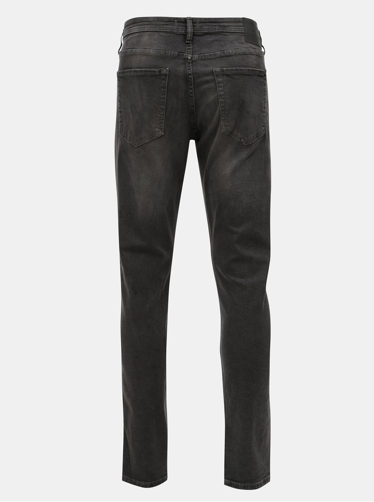 Tmavě šedé slim džíny s vyšisovaným efektem Jack & Jones Glenn