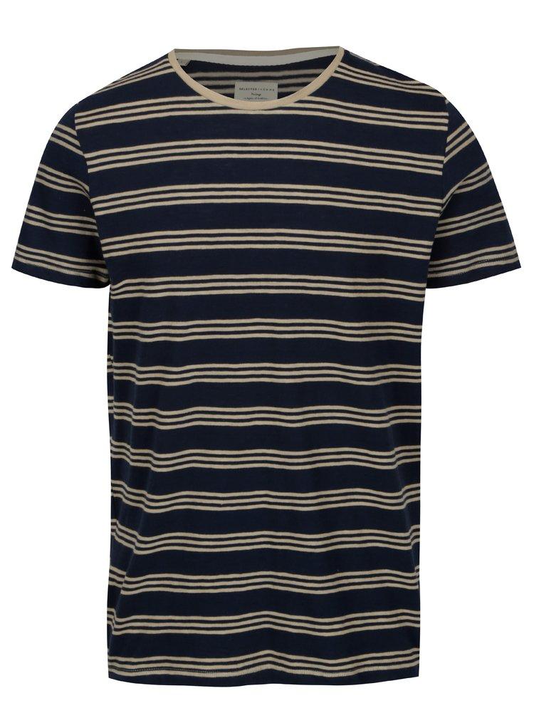 Tmavě modré pruhované tričko Selected Homme Malthe