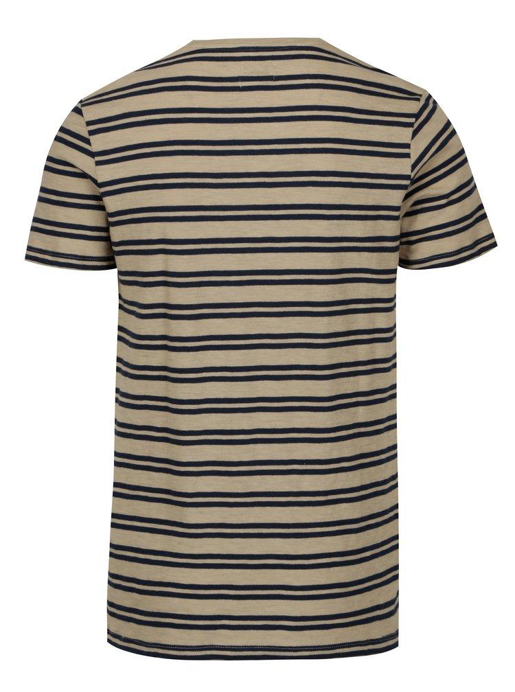 Hnědé pruhované tričko Selected Homme Malthe