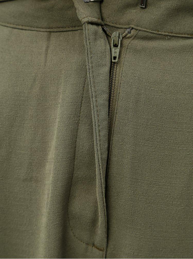 Zelené volné kalhoty s vysokým pasem a páskem Jacqueline de Yong Enzo