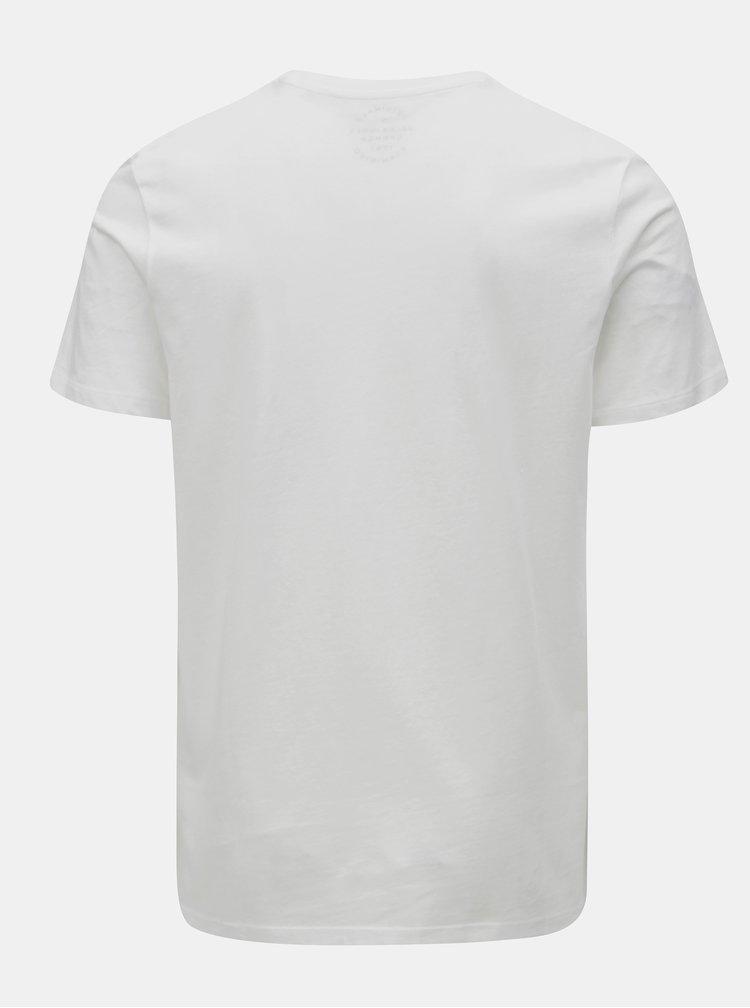 Biele tričko s potlačou a krátkym rukávom Jack & Jones Autumn city
