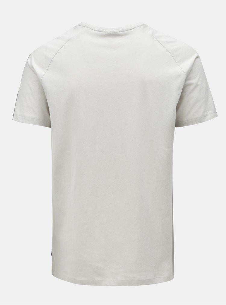 Šedé tričko s nášivkou a lemem Jack & Jones Kenny