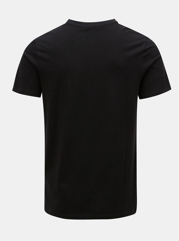 Čierne tričko s potlačou Jack & Jones Premium Collage
