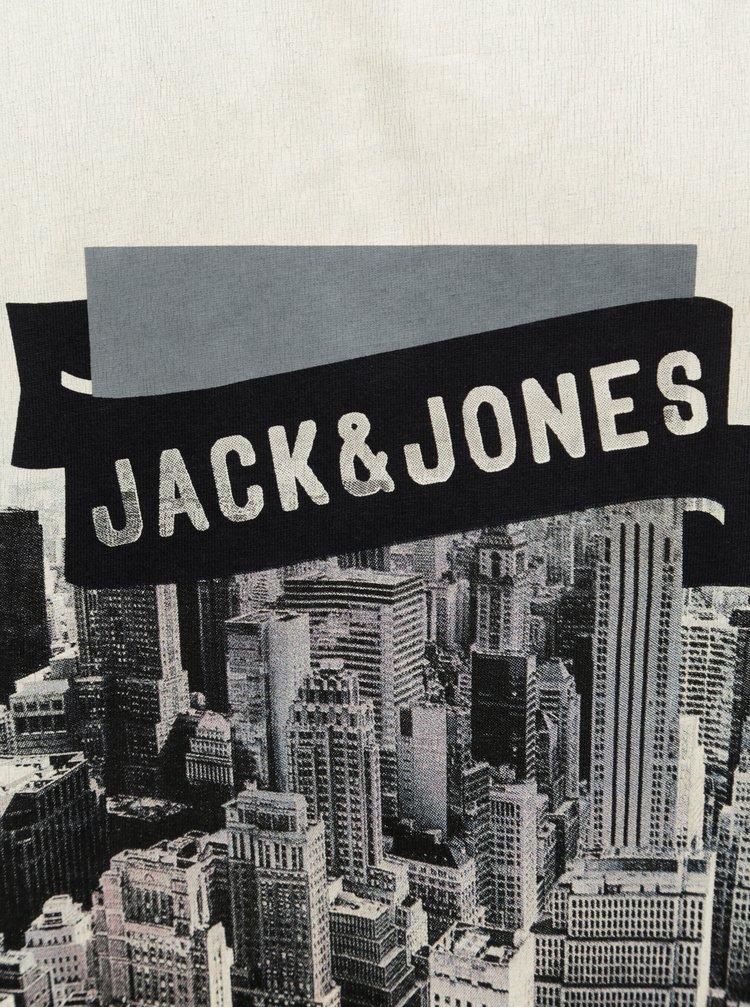 Tmavomodré tričko s potlačou Jack & Jones Autumn City