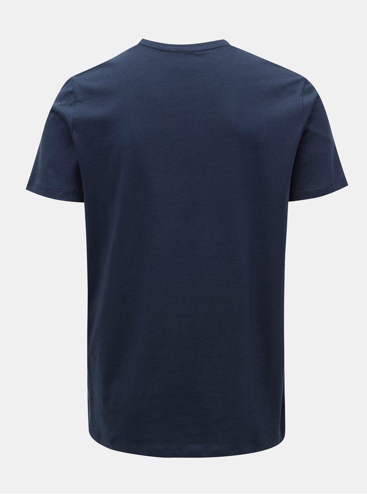 Tmavě modré tričko s potiskem a krátkým rukávem Jack & Jones Autumn City