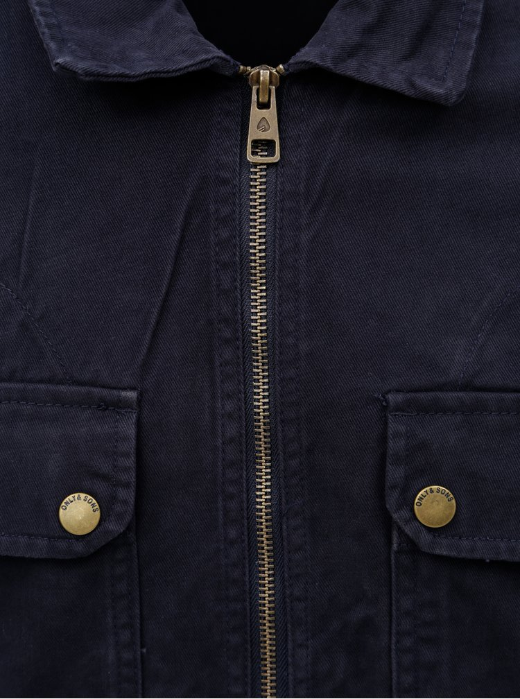 Tmavě modrá bunda s kapsami ONLY & SONS Adler