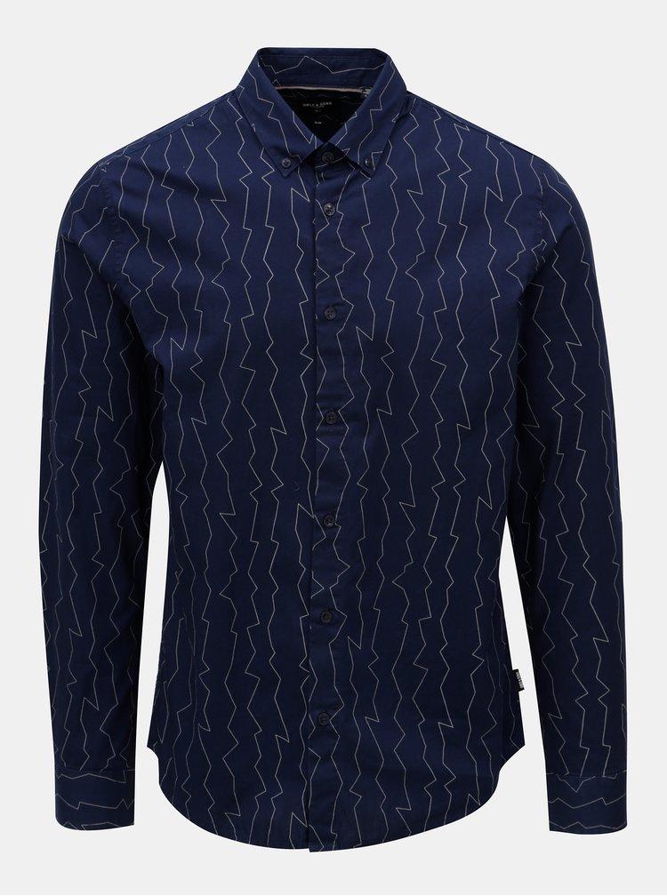 Tmavě modrá vzorovaná slim košile ONLY & SONS Omar