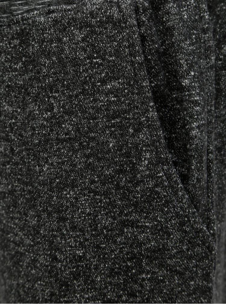 Sivé pánske melírované tepláky s výšivkou Meatfly
