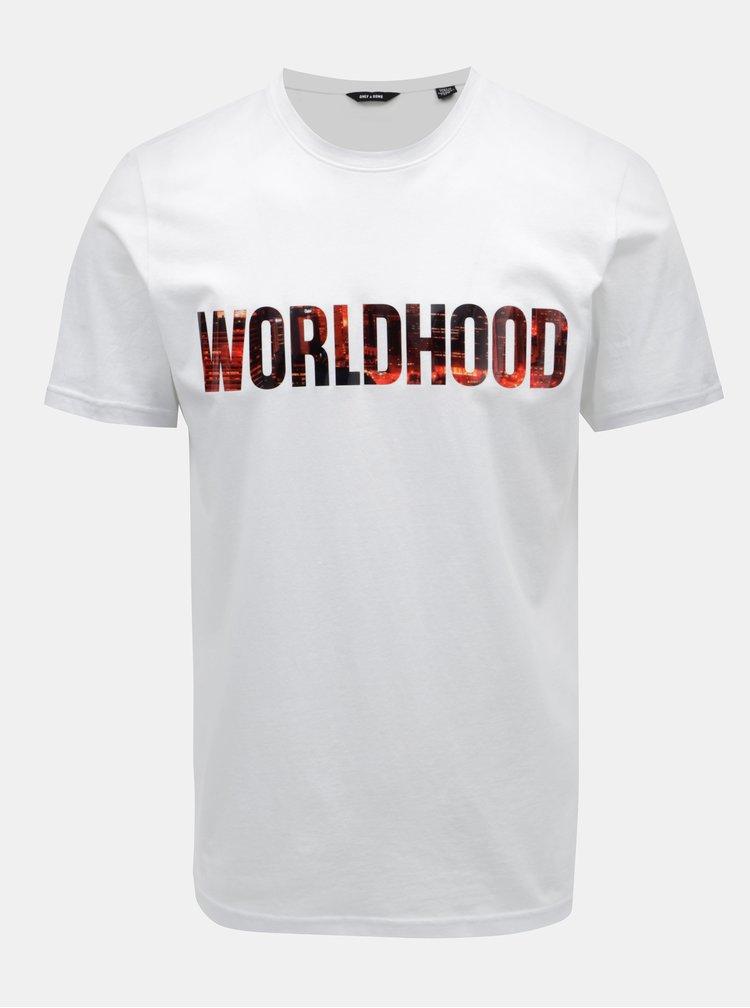 Bílé tričko s potiskem ONLY & SONS Worldhood