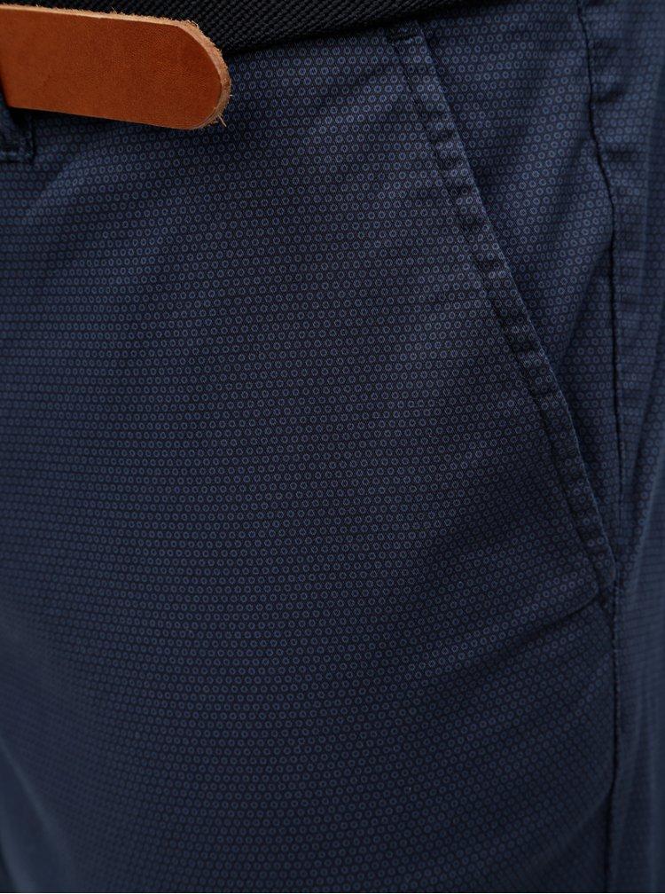 Pantaloni chino slim albastri cu model si curea Selected Homme