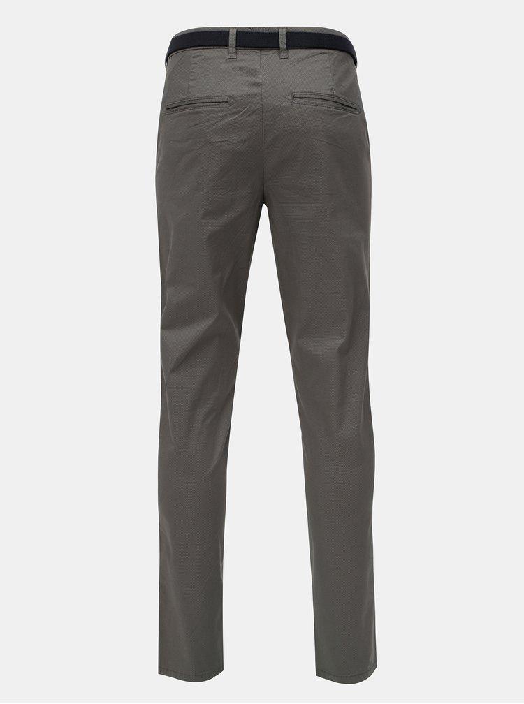 Šedé slim vzorované chino kalhoty s páskem Selected Homme