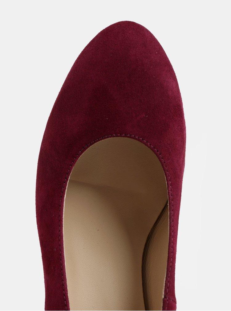 Pantofi visinii din piele intoarsa cu toc OJJU