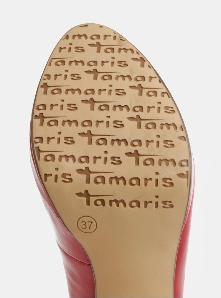 Červené lesklé lodičky na vysokém podpatku Tamaris