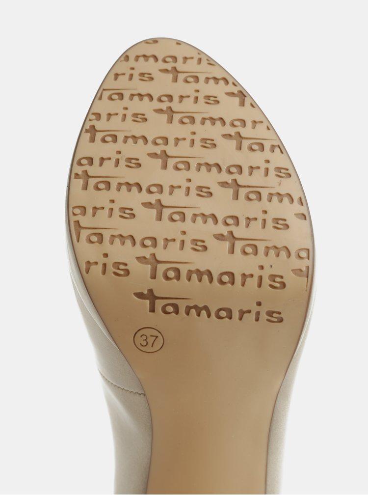 Béžové lesklé lodičky na vysokém podpatku Tamaris