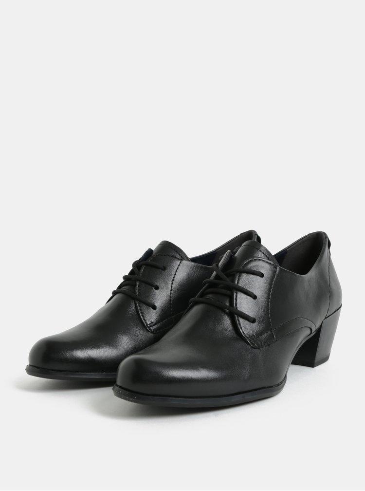 Pantofi negri din piele cu toc Tamaris
