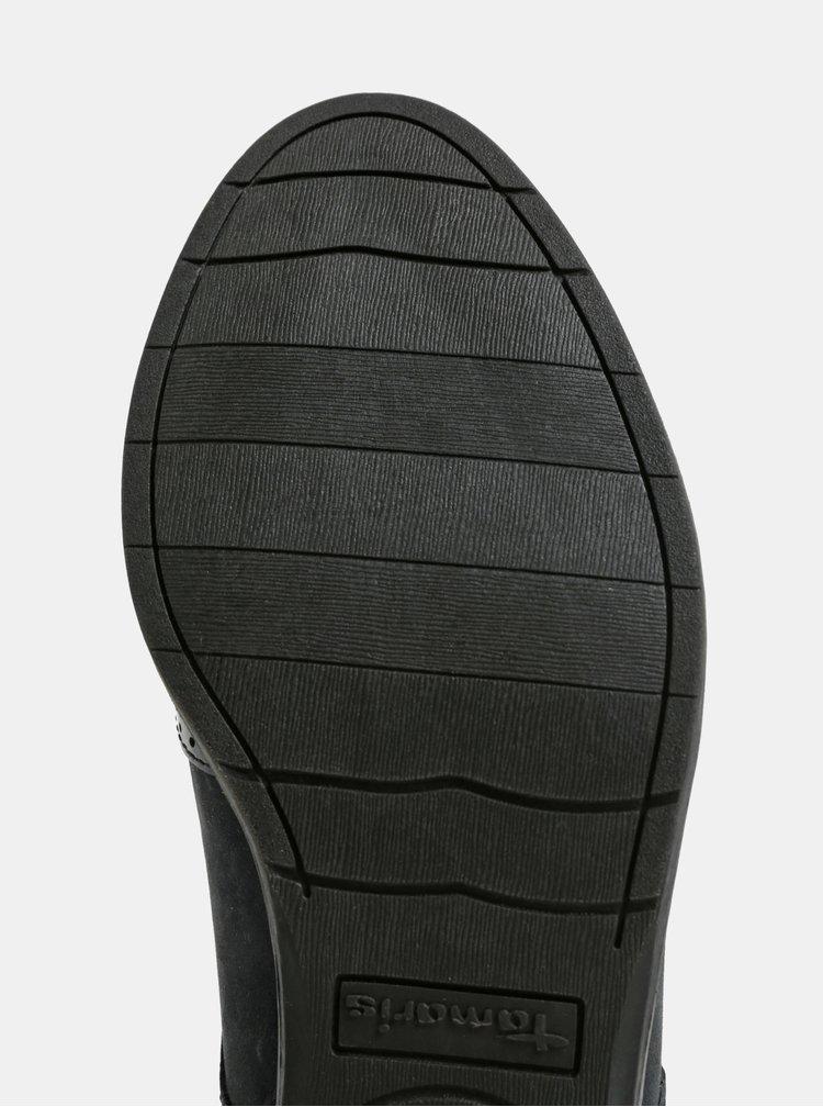 Tmavě modré semišové polobotky s plastickým vzorem Tamaris