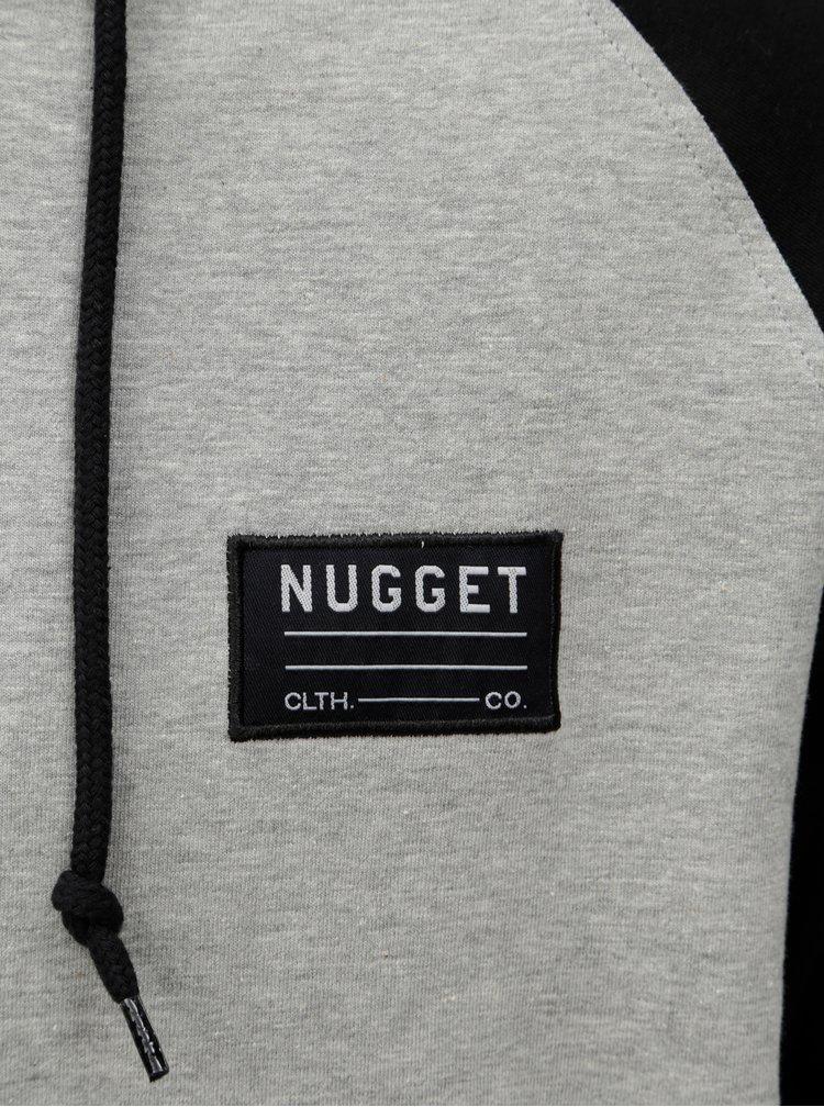 Světle šedá žíhaná mikina s kapucí Nugget