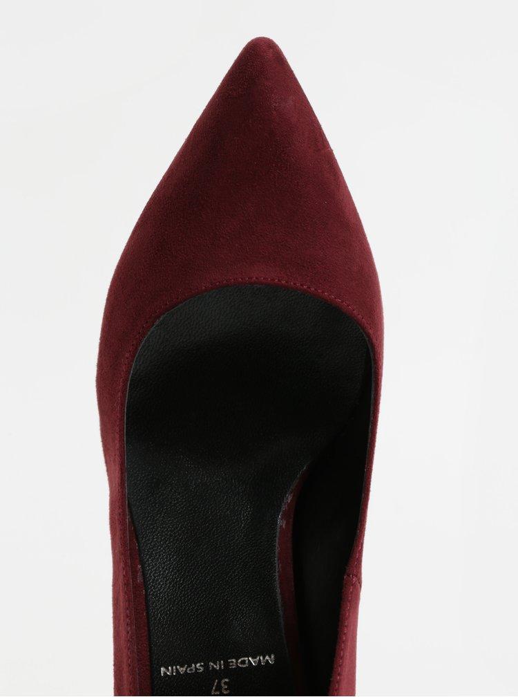 Pantofi visinii din piele intoarsa cu toc stabil OJJU
