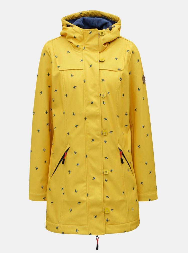 Žlutá dlouhá vzorovaná voděodolná bunda Blutsgeschwister