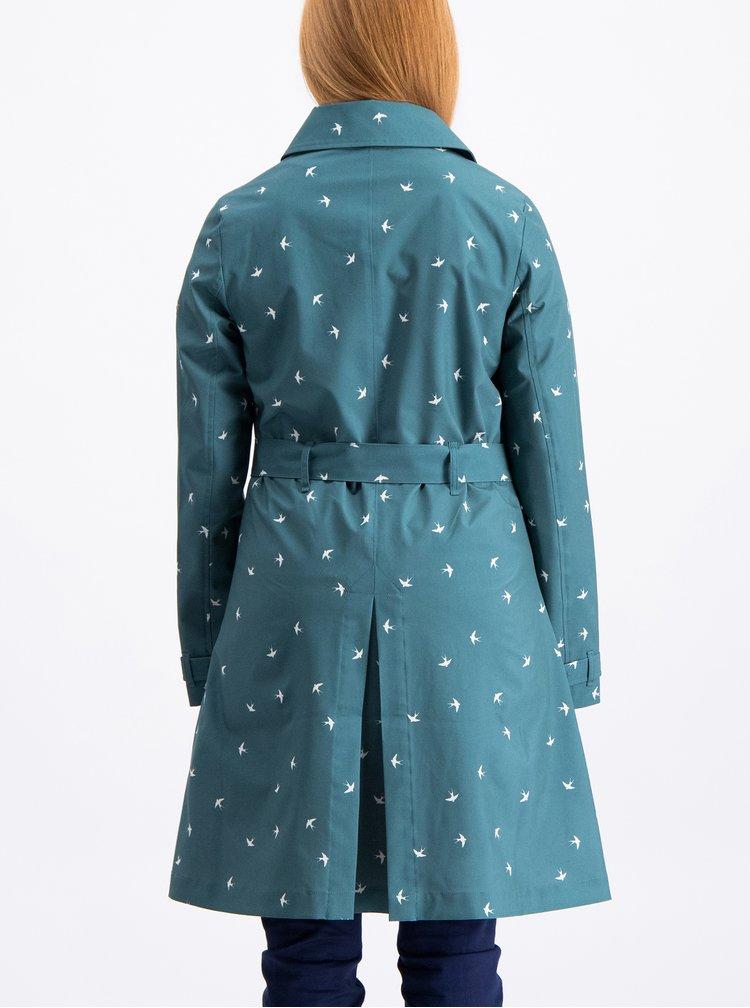 Petrolejový vzorovaný kabát s páskem Blutsgeschwister