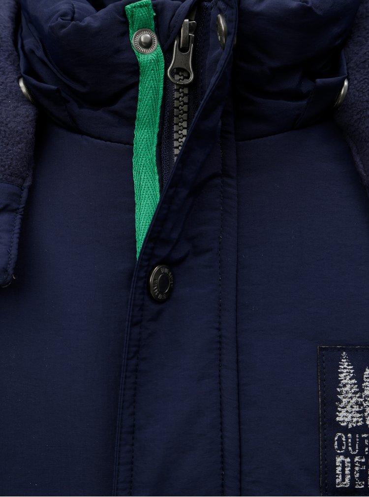 Tmavě modrá klučičí zimní bunda s umělým kožíškem Blue Seven