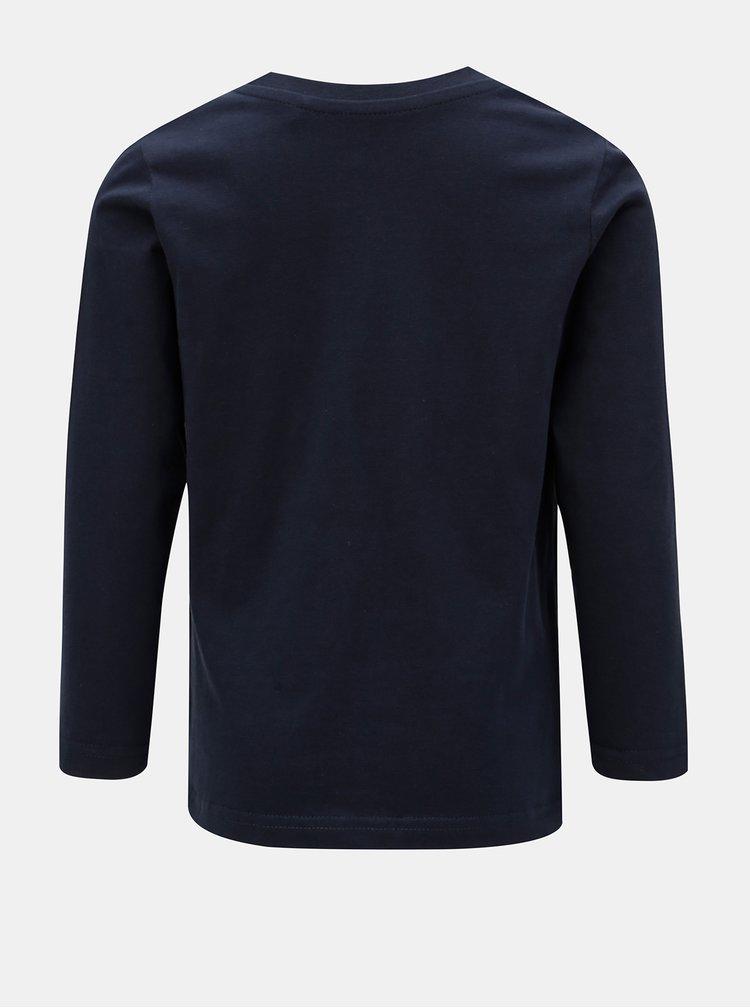 Tmavě modré klučičí tričko s potiskem a dlouhým rukávem Blue Seven