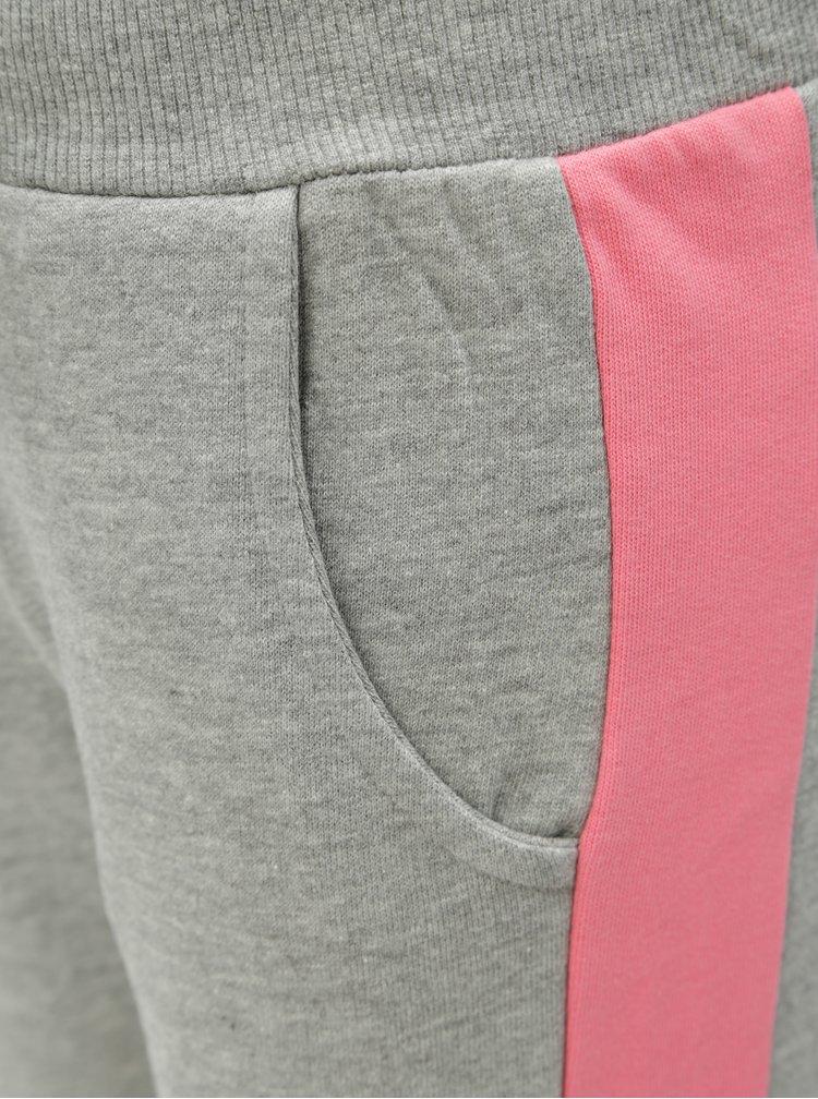 Růžovo-šedé holčičí žíhané tepláky Name it Mari