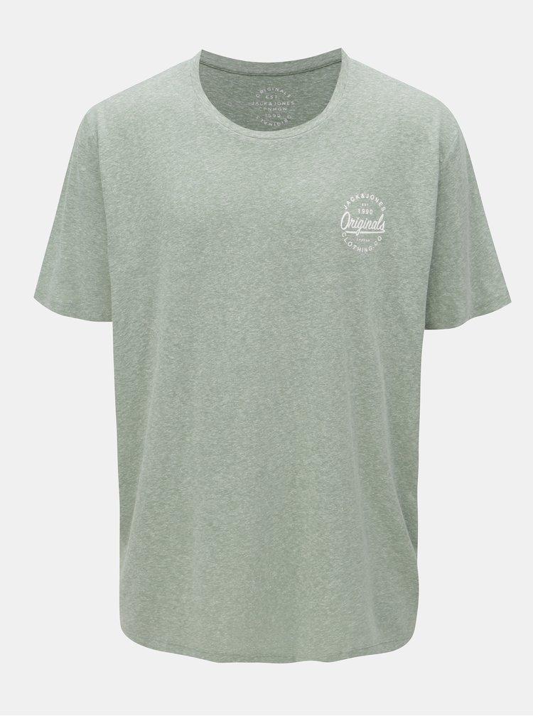 Zelené žíhané tričko s potiskem Jack & Jones Breeze Small
