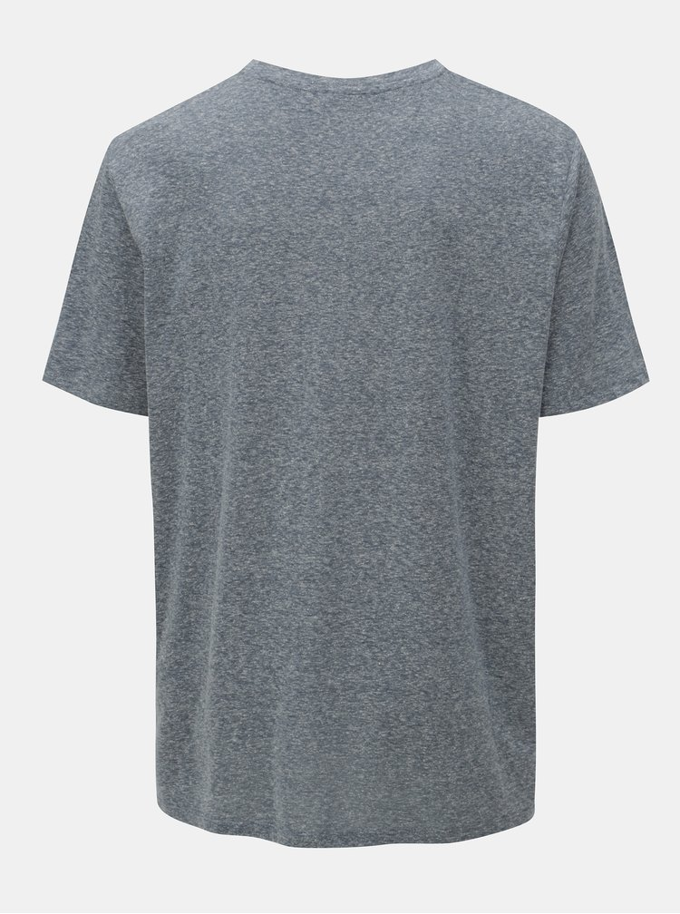 Tricou albastru melanj cu print Jack & Jones Breeze Small