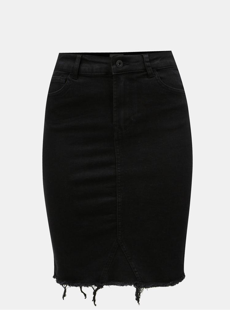 Černá džínová sukně s roztřepeným lemem ONLY Sunny