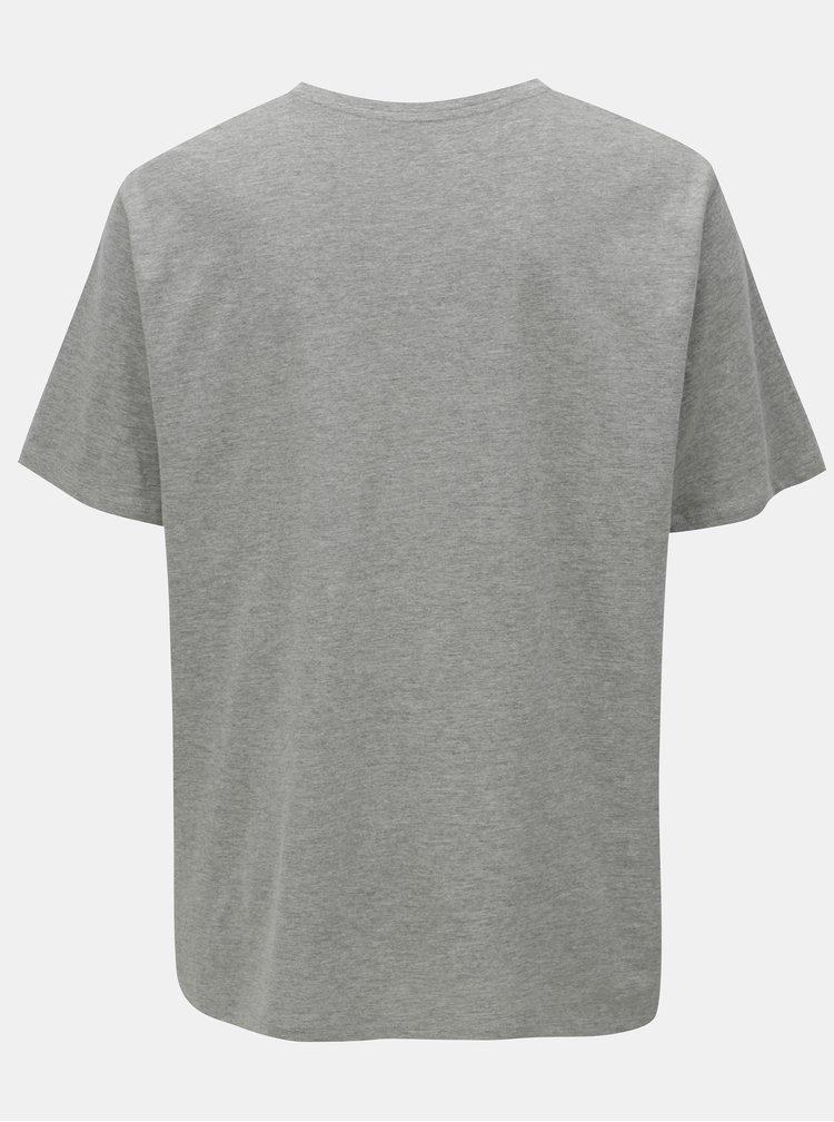 Šedé žíhané tričko s potiskem Jack & Jones Pleo