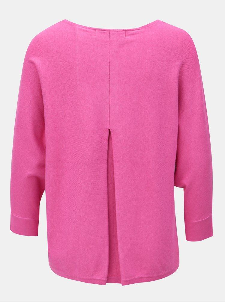 Růžový lehký oversize svetr s 3/4 rukávem VERO MODA