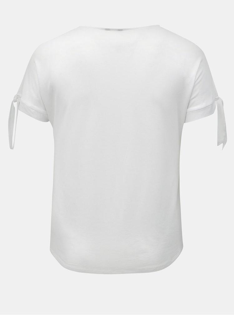 Tricou alb cu snuri pe maneci M&Co