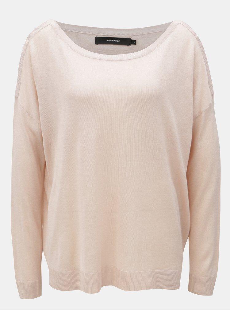 Starorůžový oversize lehký svetr s dlouhým rukávem VERO MODA