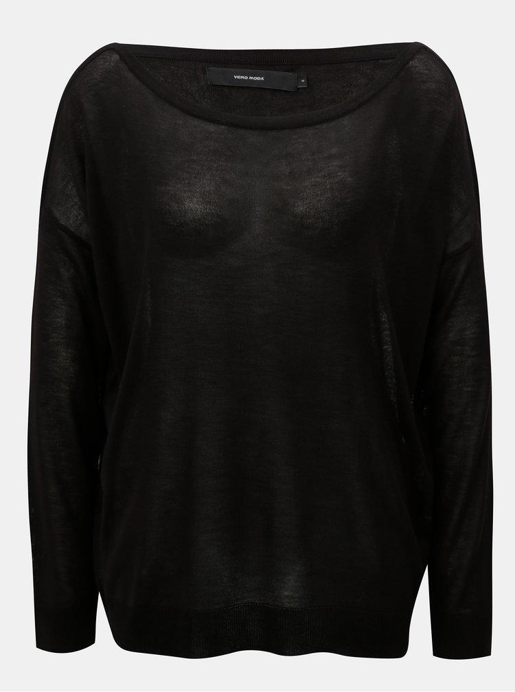 Černý volný lehký svetr s dlouhým rukávem VERO MODA