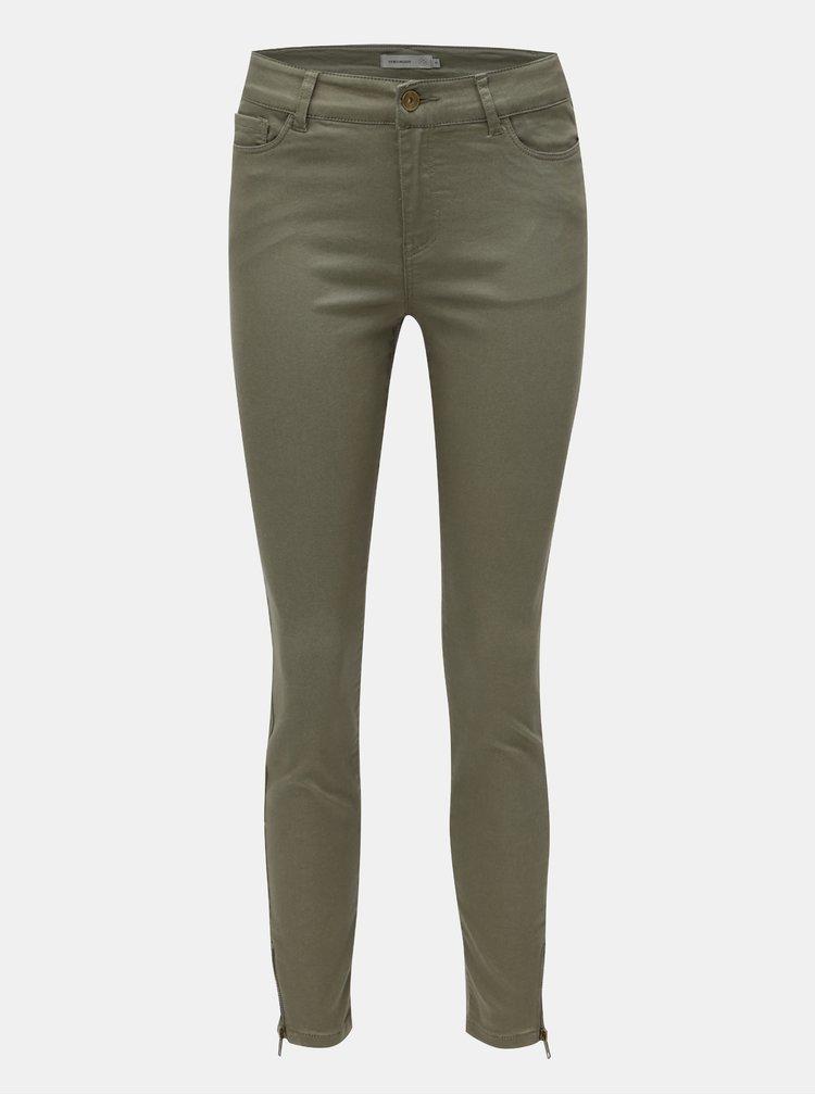 Khaki zkrácené skinny džíny VERO MODA