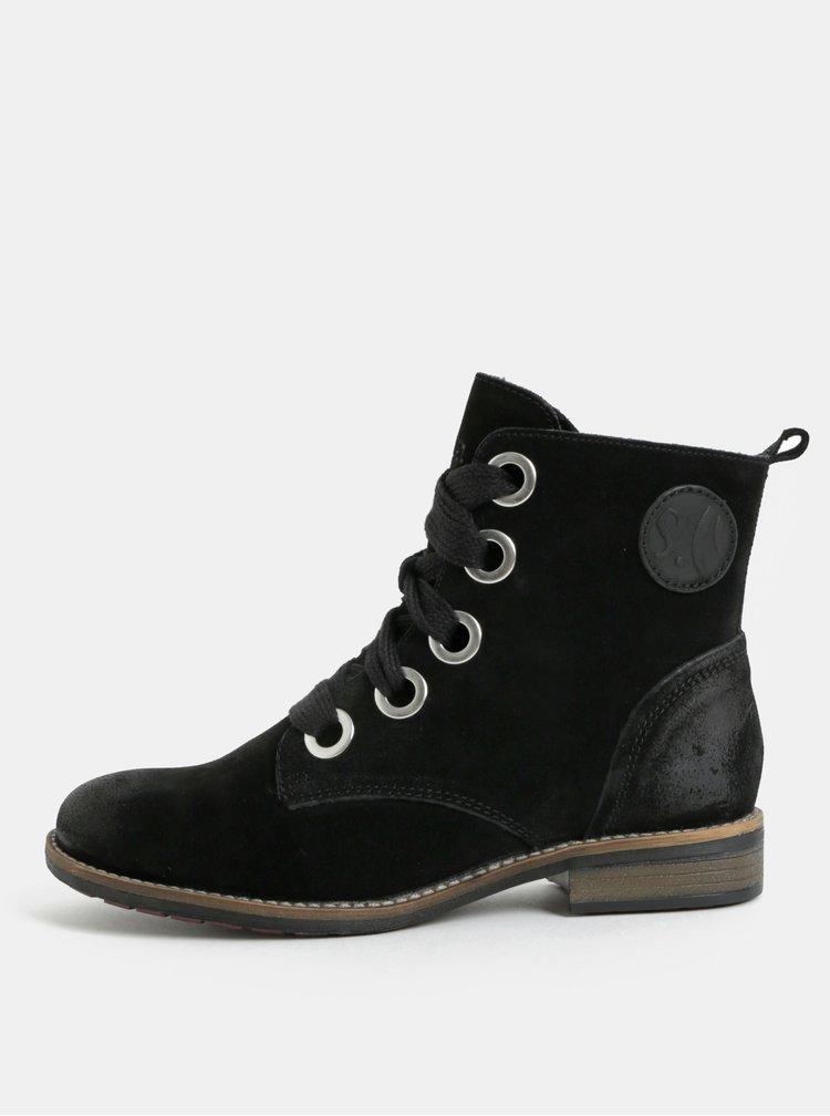 Černé semišové kotníkové boty S.Oliver