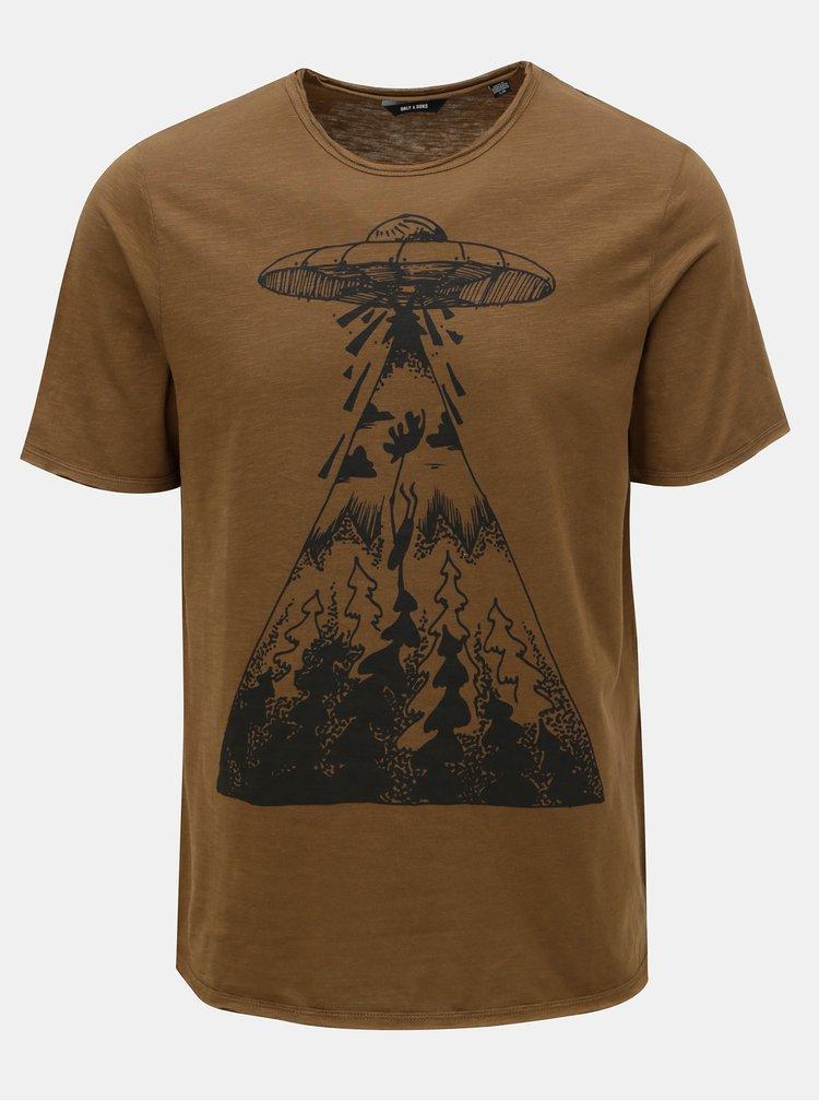 Hnědé tričko s potiskem ONLY & SONS Garreth