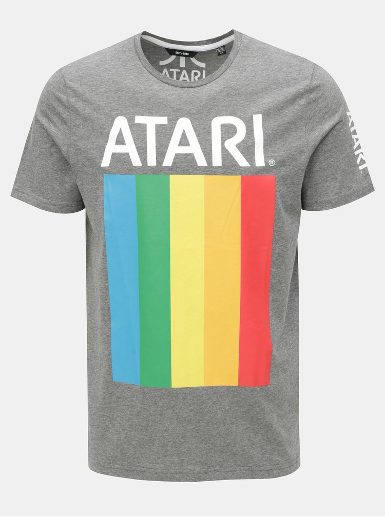 Tricou gri melanj cu print ONLY & SONS Atari